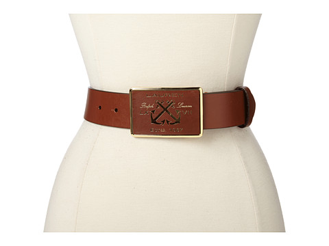 LAUREN by Ralph Lauren - 1 5/8 Leather Belt w/ Leather Inset Plaque (Tan) Women's Belts