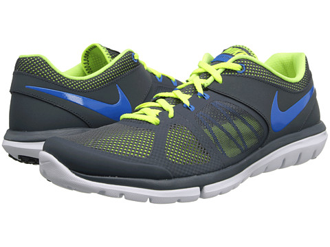 Nike - Flex 2014 Run (Dark Magnet Grey/Volt/White/Photo Blue) Men's Running Shoes