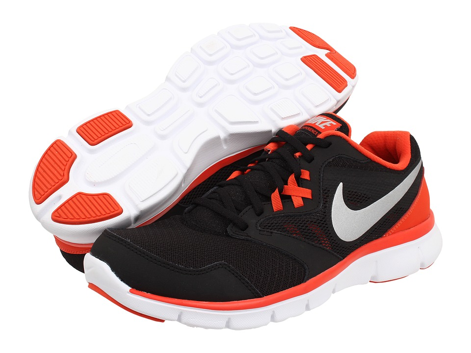 Nike - Flex Experience Run 3 (Black/Team Orange/White/Metallic Silver) Men's Running Shoes