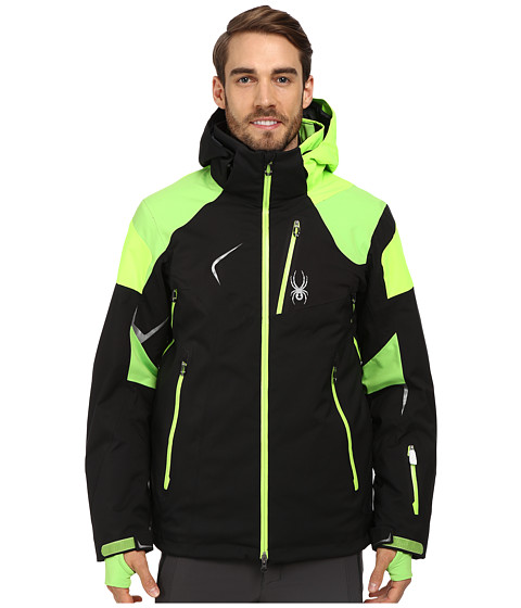 Spyder - Leader Jacket (Black/Mantis Green/Bryte Green) Men's Coat