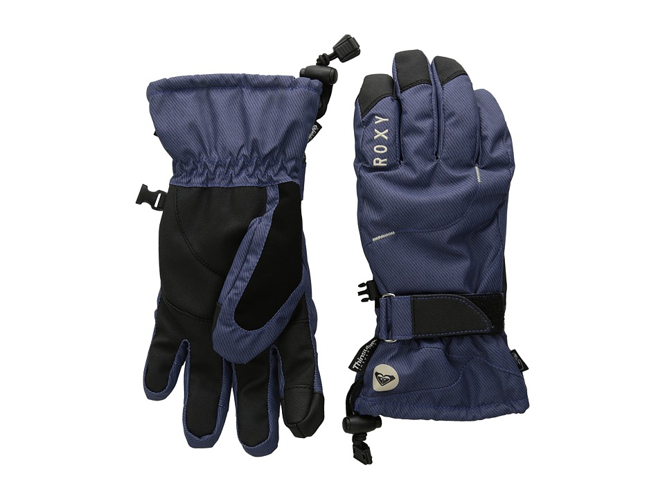 Roxy - Big Bear Glove (Denim Print/Peacoat) Extreme Cold Weather Gloves