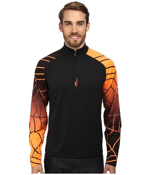 Spyder - Linear Web Dry W.E.B. T-Neck Top (Black/Bryte Orange/Black) Men's Long Sleeve Pullover