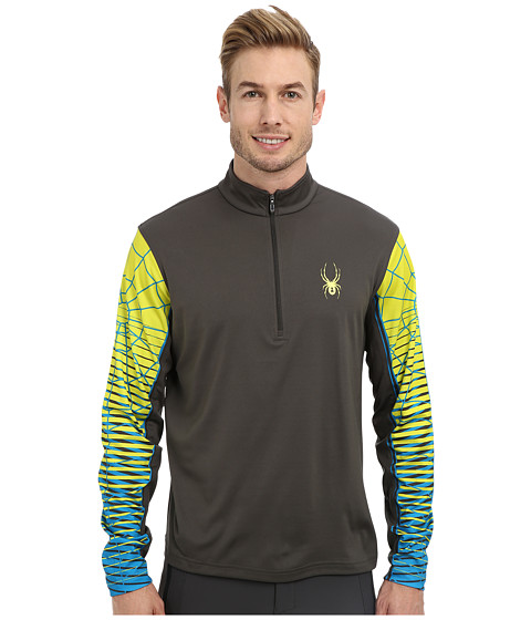 Spyder - Webstrong Dry W.E.B. T-Neck Top (Osetra/Acid/Electric Blue) Men's Long Sleeve Pullover