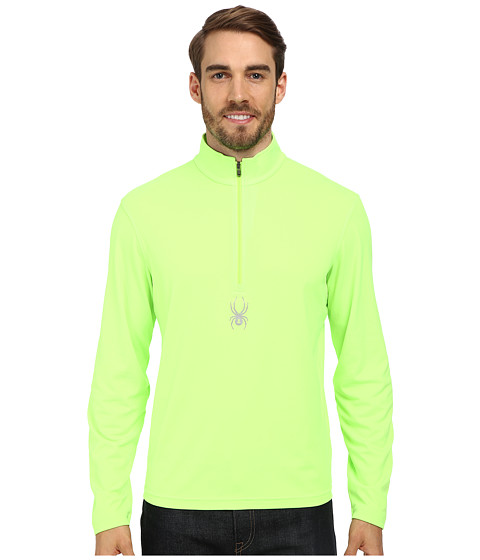 Spyder - Silver Drip Dry W.E.B. T-Neck Top (Bryte Green) Men's Long Sleeve Pullover