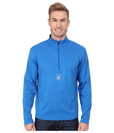 Spyder - Silver Drip Dry W.E.B. T-Neck Top (Stratos Blue) Men's Long Sleeve Pullover