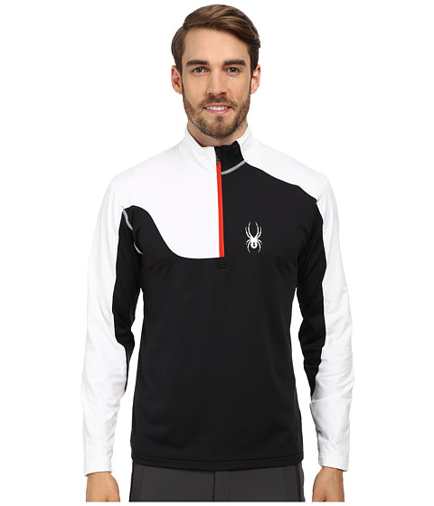 Spyder - Charger Therma Stretch T-Neck Top (Black/White/Volcano) Men's Long Sleeve Pullover
