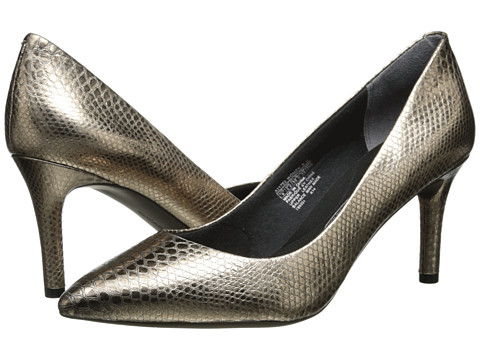 Rockport - Total Motion 75mm Pointy Toe Pump (Light Gold Python) High Heels