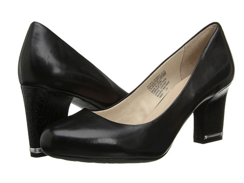 Rockport - Seven to 7 Mid Plain Pump (Black Leather/Croc Heel) Women's 1-2 inch heel Shoes
