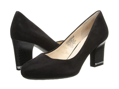 Rockport - Seven to 7 Mid Plain Pump (Black Suede/Croc Heel) Women