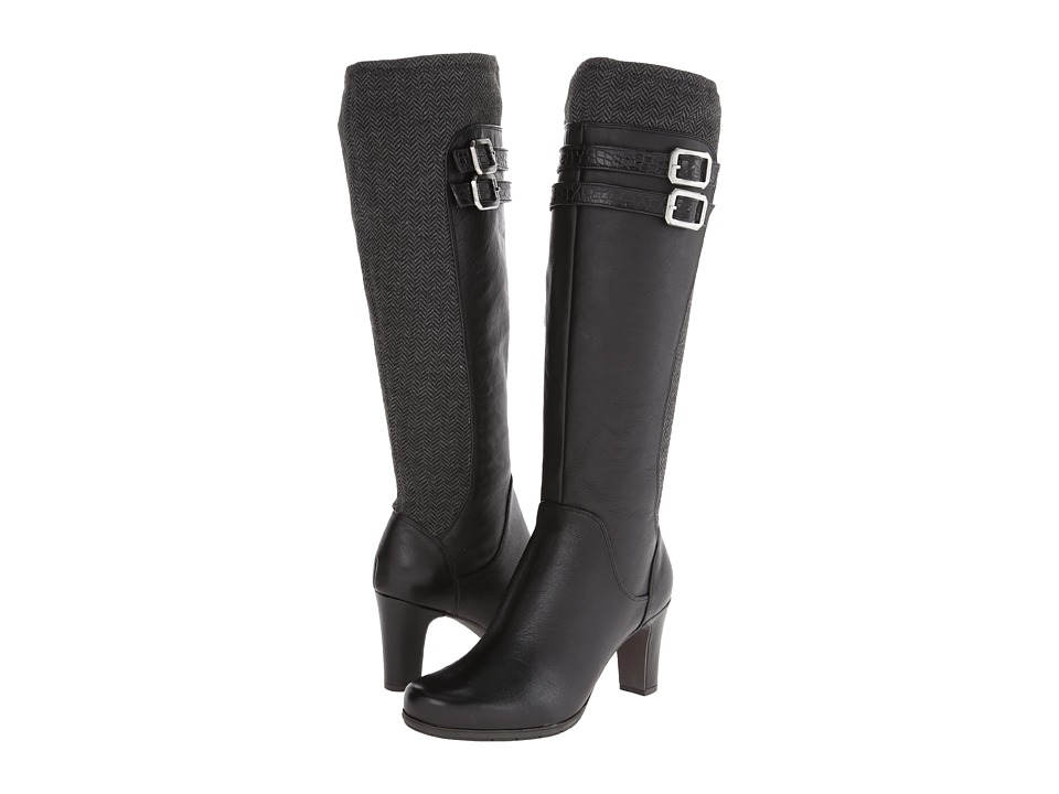 Rockport - Total Motion 75mm 2 Strap Tall Boot w/ Goring (Black Leather/Herringbone) Women's Boots