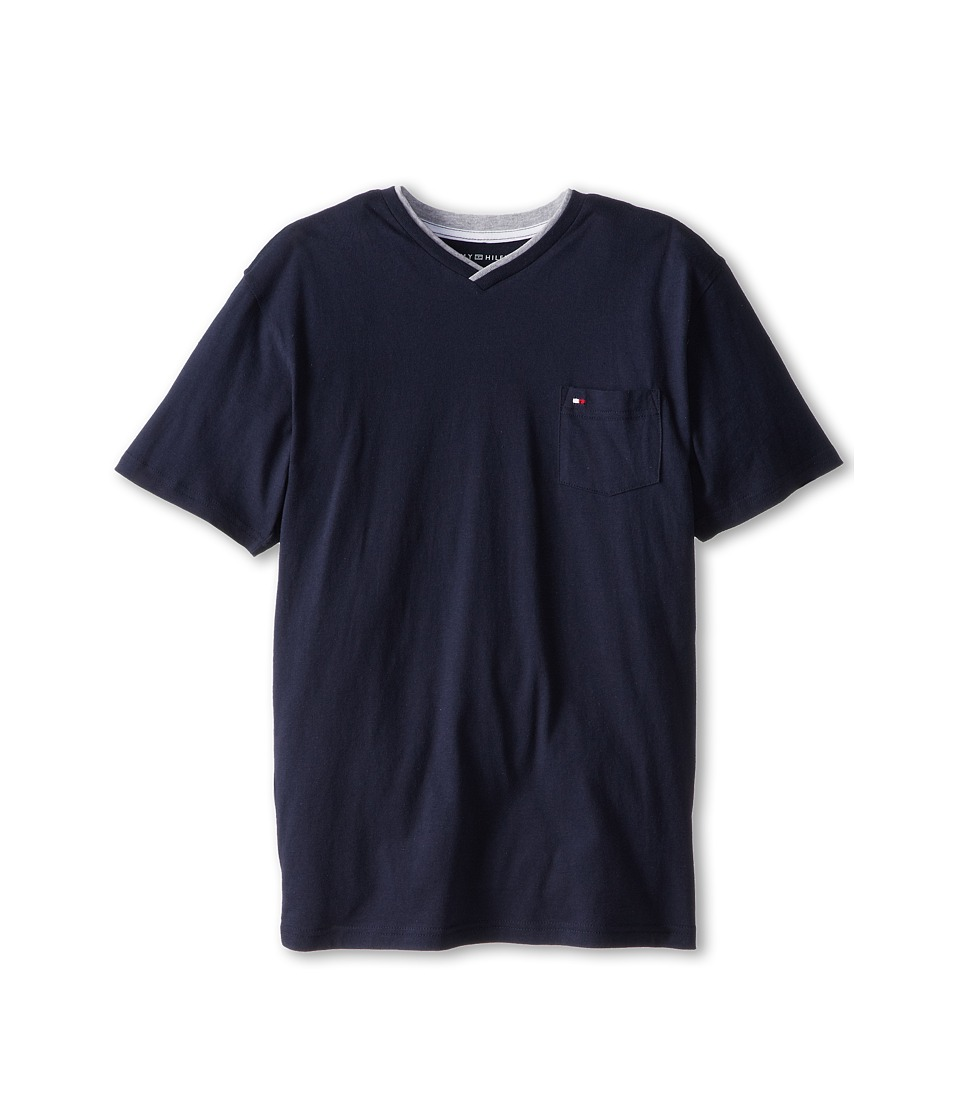 Tommy Hilfiger Kids - Isenov S/S V Neck Pocket Tee (Big Kids) (Swim Navy) Boy