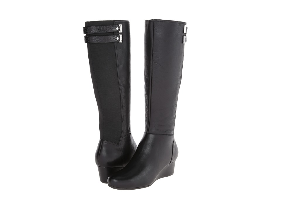 Rockport Total Motion Gore Tall Boot w/ Double Strap (Black Leather) Women