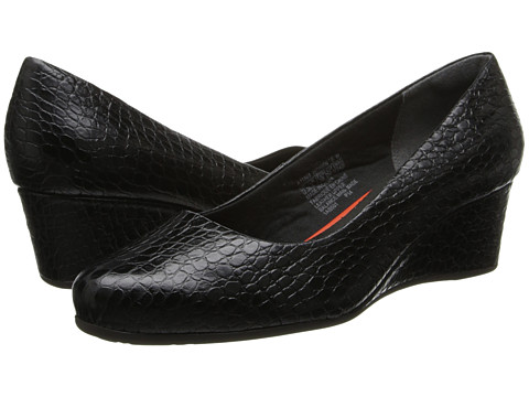 Rockport - Total Motion 45MM Wedge (Black Croco) Women's Shoes
