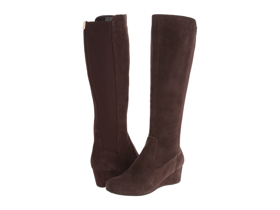 Rockport - Total Motion 45MM Tall Boot - Wide Calf (Coach Brown Suede/Stretch - ES) Women's Pull-on Boots