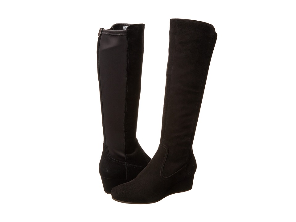 Rockport - Total Motion 45MM Tall Boot Wide Calf (Black Suede/Stretch - ES) Women