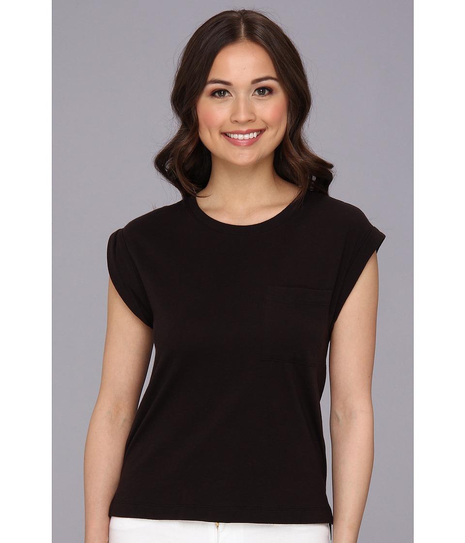 BCBGeneration - Rolled Sleeve Slit Short Sleeve Tee VZC1R962 (Black) Women's Short Sleeve Pullover