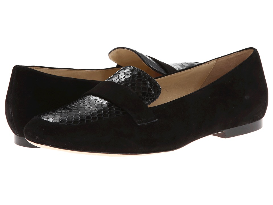 Cole Haan - Dakota Loafer (Black Suede/Black Snake Print) Women's Slip on Shoes