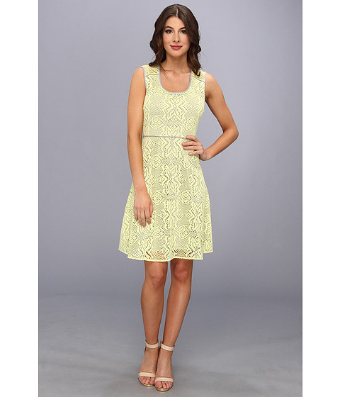 Marc New York by Andrew Marc - Crochet Lace Fit Flare Dress MD4L3129 (Lemon Drop) Women's Dress