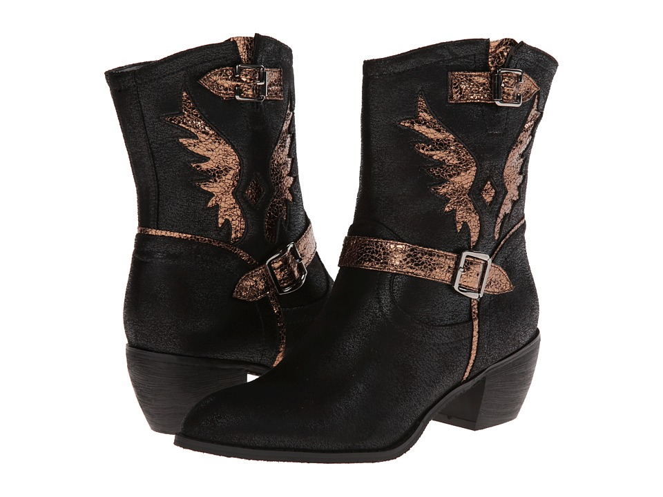 Roper Metallic Wing Ankle Boot (Black) Cowboy Boots