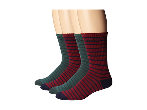 Macbeth - Stripes Crew Socks 4-Pack (Ox Blood/Green) Crew Cut Socks Shoes