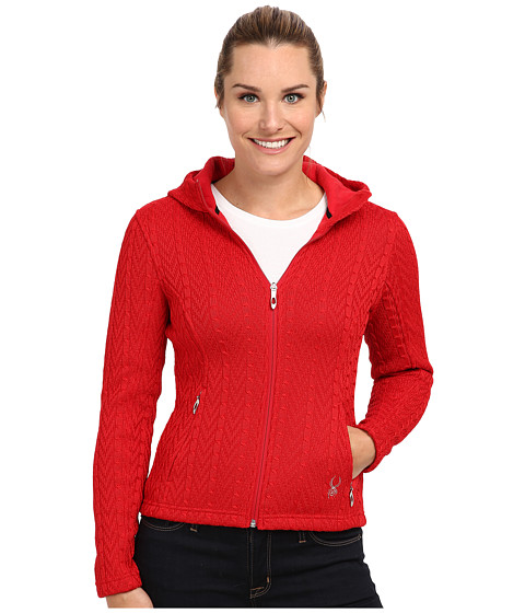 Spyder - Major Hoodie Cable Core Sweater (Vampire) Women