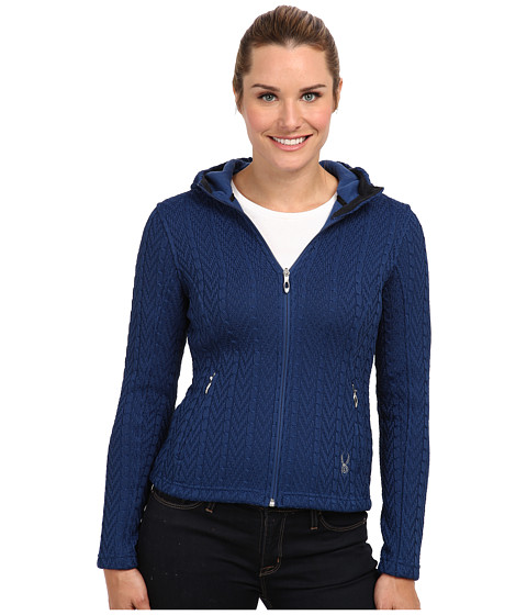 Spyder - Major Hoodie Cable Core Sweater (Sapphire) Women's Sweater