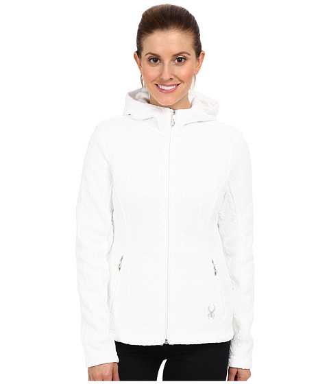 Spyder - Major Hoodie Cable Core Sweater (White) Women's Sweater