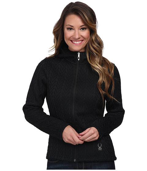 Spyder - Major Hoodie Cable Core Sweater (Black) Women's Sweater