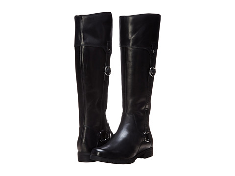 Rockport - Tristina Buckle Riding Boot - Wide Calf (Black Leather/Suede - ES) Women's Wide Shaft Boots