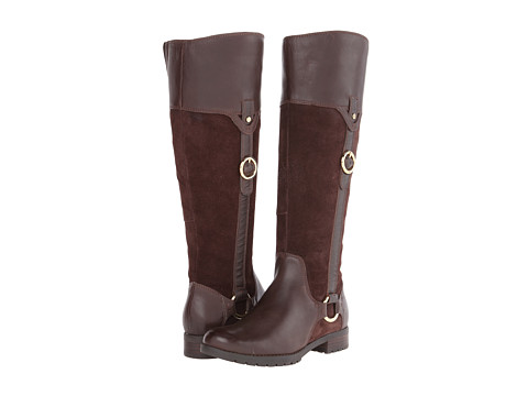 Rockport - Tristina Buckle Riding Boot - Wide Calf (Ebano Leather/Suede - ES) Women's Wide Shaft Boots