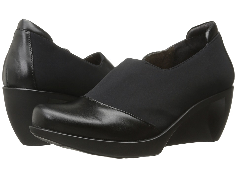 Naot Footwear - Weekend (Black Madras Leather/Black Stretch) Women's Flat Shoes