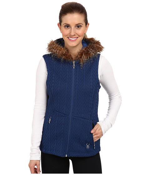 Spyder - Major Cable Core Sweater Vest (Sapphire) Women