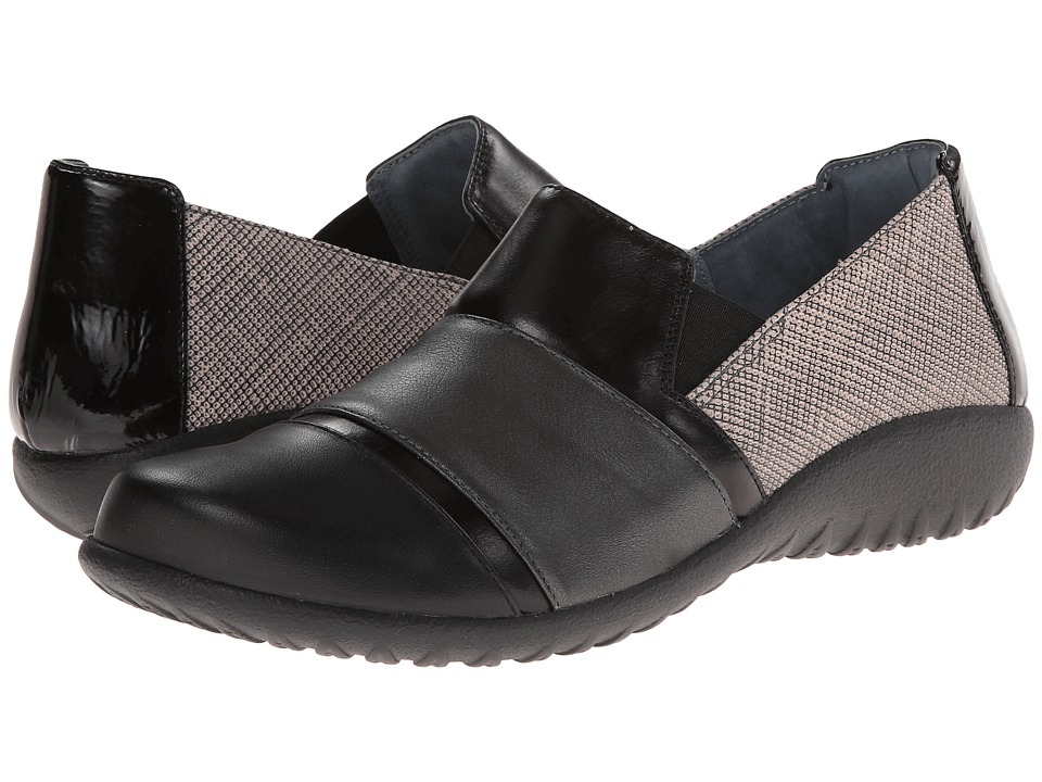 Naot Footwear - Miro (Fishnet Leather/Metallic Road Leather/Black Madras Leather) Women's Flat Shoes
