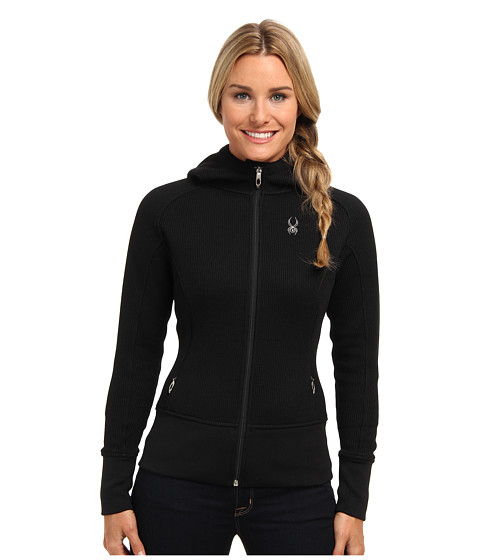 Spyder - Ardent Full Zip Hoodie Mid Weight Core Sweater (Black/Silver) Women