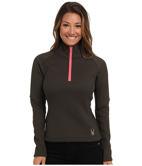 Spyder - Valor Half Zip Mid Weight Core Sweater (Osetra/Bryte Pink) Women's Long Sleeve Pullover