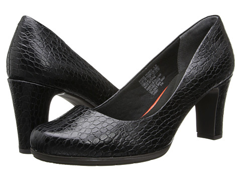 Rockport - Total Motion 75mm Plain Pump (Black Croco) High Heels
