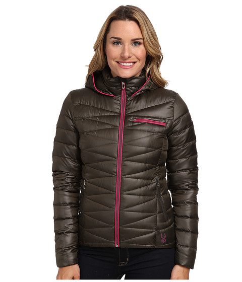 Spyder - Timeless Hoodie Down Jacket (Osetra/Girlfriend) Women's Coat
