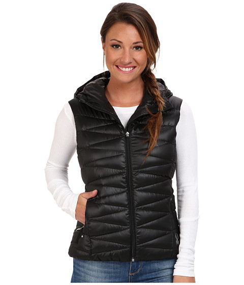 Spyder - Timeless Hoodie Down Vest (Black/Silver) Women