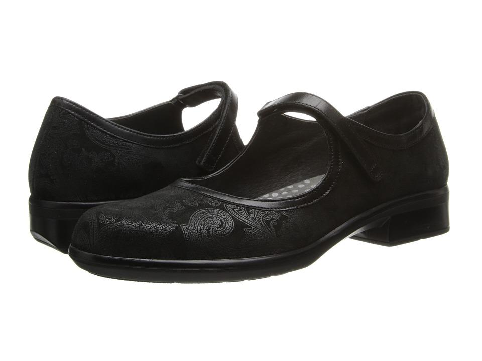 Naot Footwear - Gale (Black Lace Nubuck/Black Gloss Leather) Women's Flat Shoes
