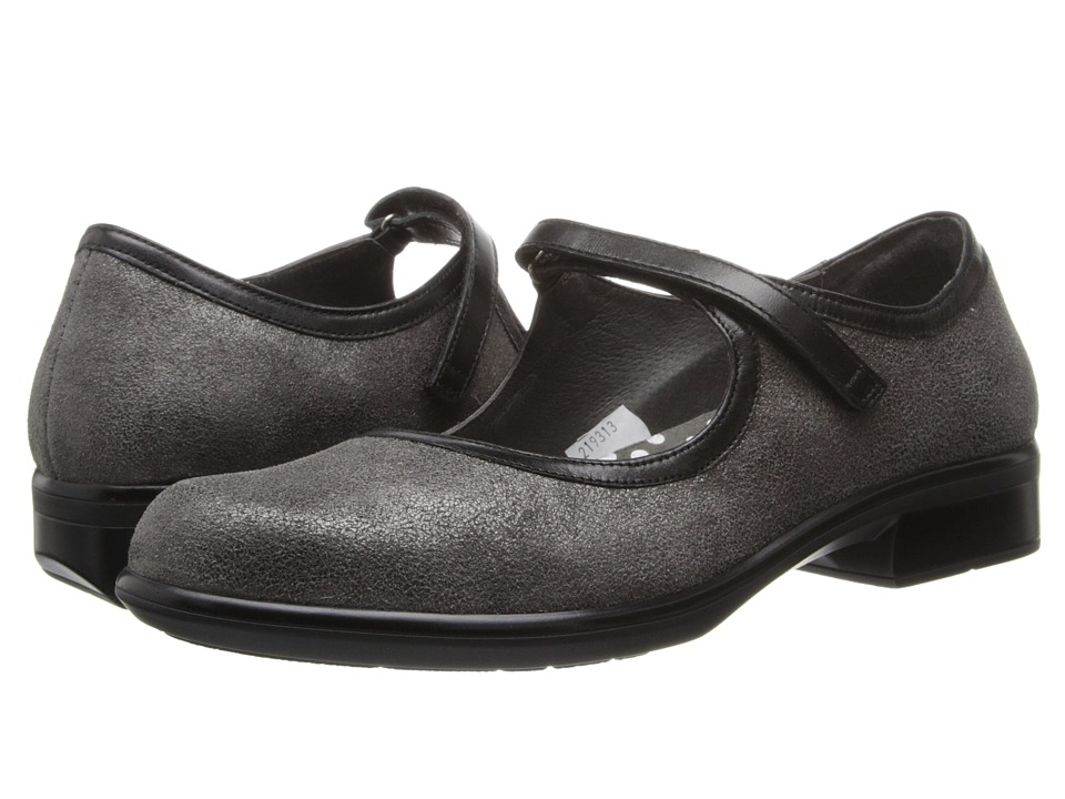 Naot Footwear - Gale (Gray Shimmer Leather/Black Madras Leather) Women's Flat Shoes