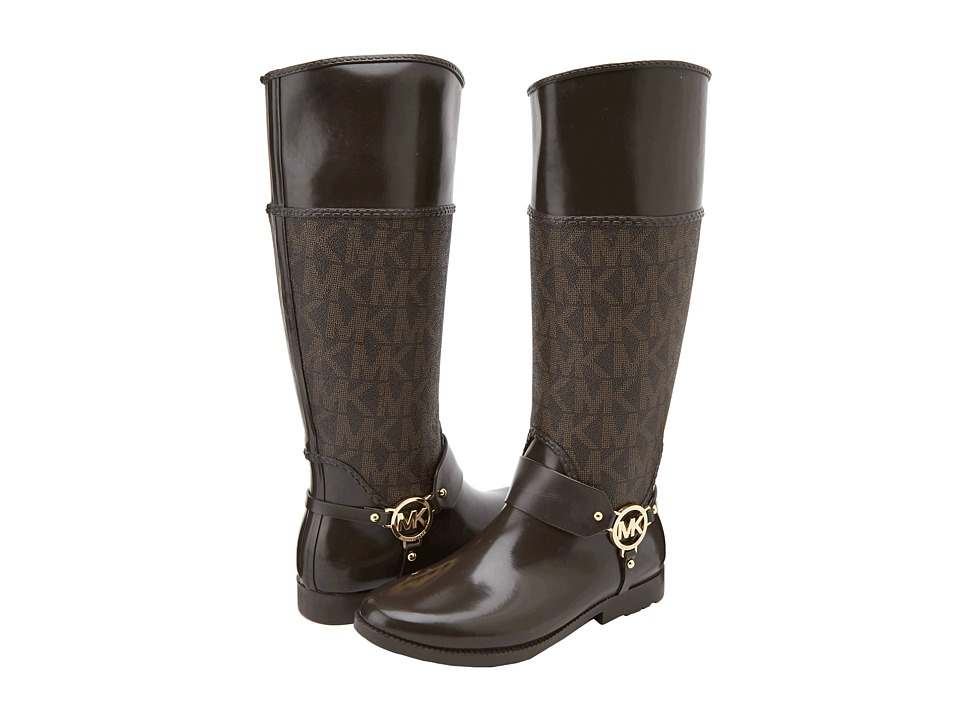 MICHAEL Michael Kors - Fulton Harness Tall Rainboot (Brown) Women's Pull-on Boots