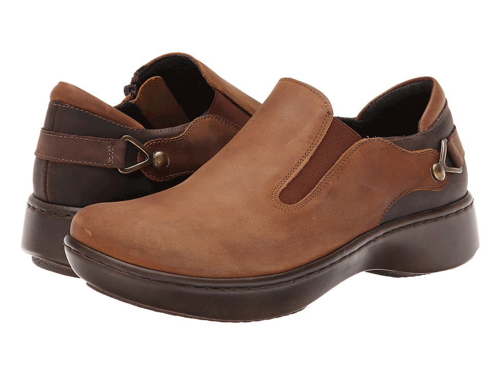 Naot Footwear - Nautilus (Saddle Brown Leather/Crazy Horse Leather/Carob Brown Leather) Women's Slip on Shoes