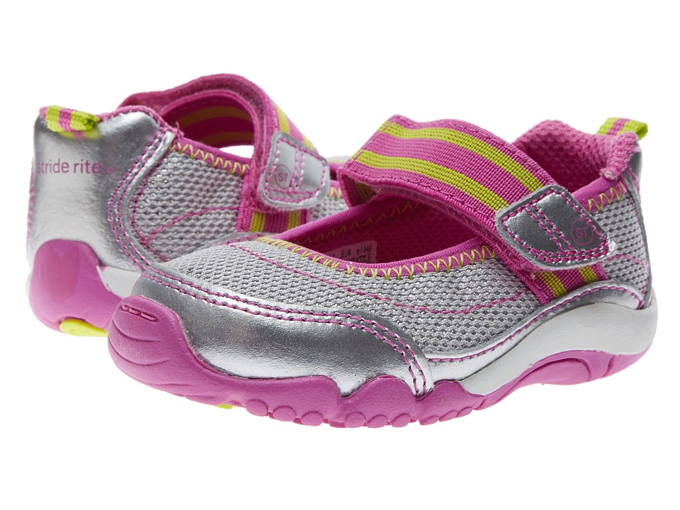 Stride Rite - SRT Clover (Toddler) (Silver/Magenta) Girl's Shoes