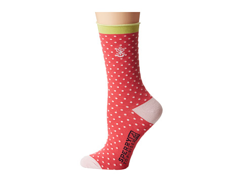 Sperry Top-Sider - Anchor Dot Roll Top (Paradise Pink) Women's Crew Cut Socks Shoes