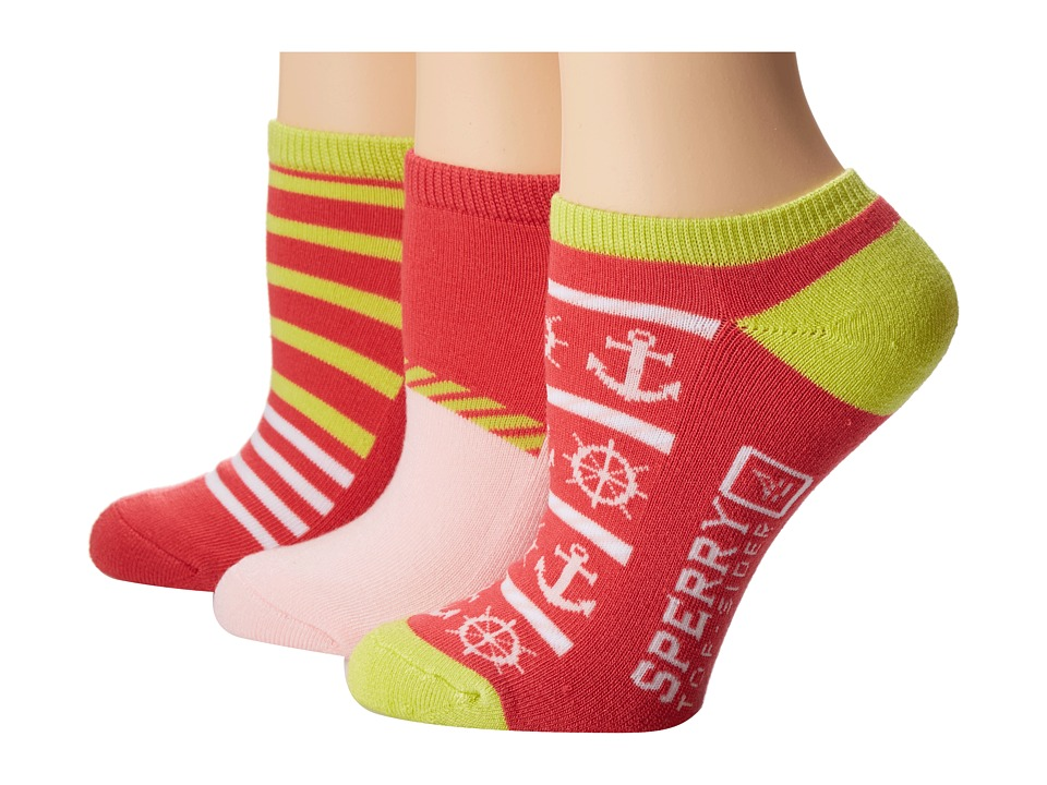 Sperry Top-Sider - Core Active Nautical Stripe 1/2 Cushion 3 Pack (Paradise Pink) Women's Crew Cut Socks Shoes