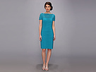 Adrianna Papell Partial Tuck Dress w/ Short Sleeve (Bright Aqua)