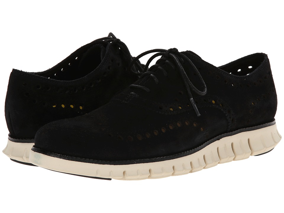 Cole Haan - Zerogrand Wing Ox (Black Kudu Suede) Men's Lace Up Wing Tip Shoes