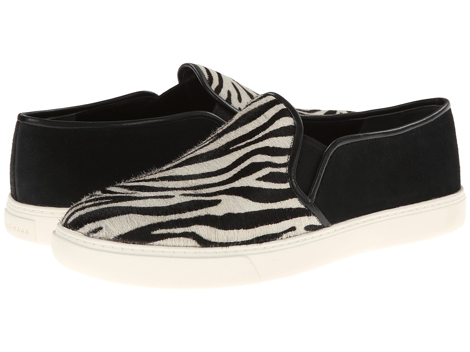 Cole Haan - Bowie Slip On Sneaker (Zebra Print Haircalf/Black Suede) Women