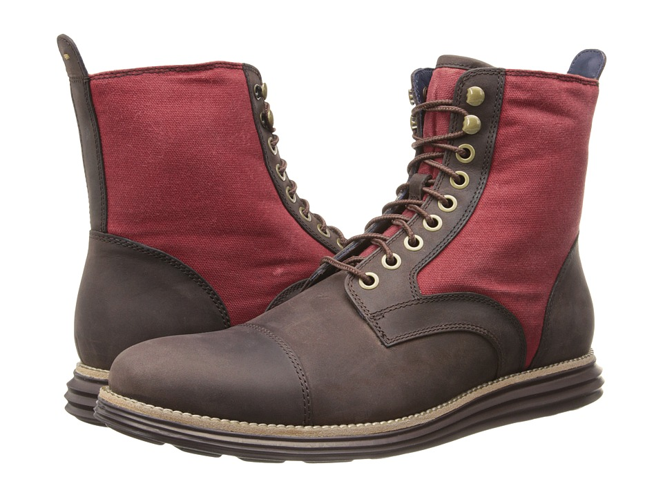 Cole Haan - Lunargrand Lace Boot (Chestnut/Tango Red) Men's Boots