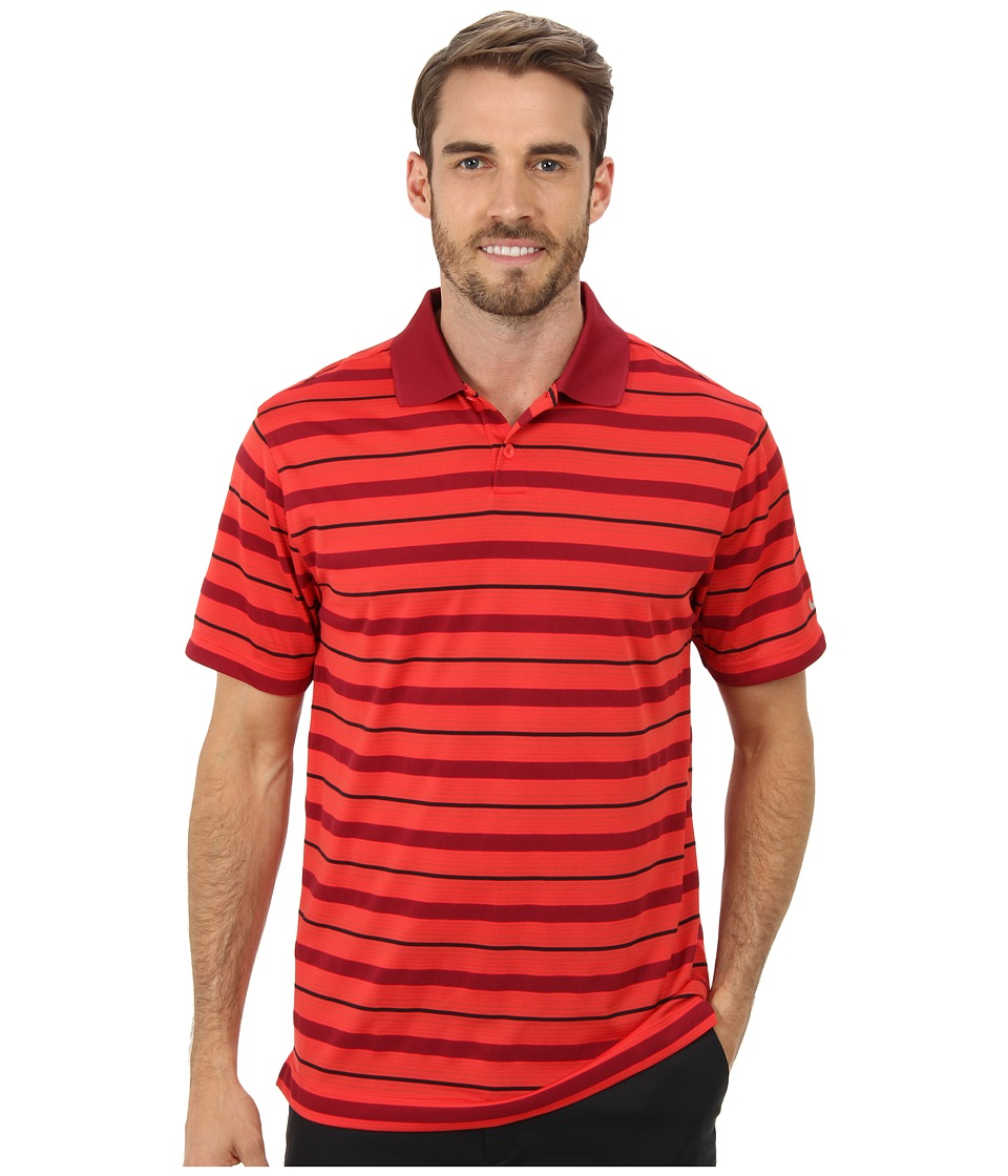Nike Golf - Ultra Stripe Polo (Action Red/Metallic Silver) Men